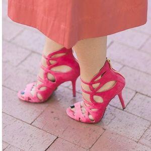 Michael Kors kid suede carnation pink heels